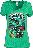 Normal Healthy Adult Turtles   Funny Ninja Humor 90s Teenage Joke Women Mutant V-Neck T-Shirt-(Vneck,XL) Vintage Green