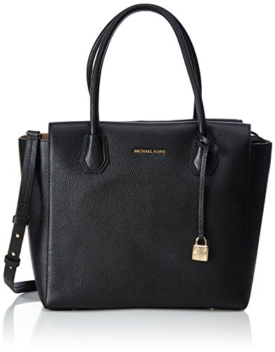 Beautiful large pebbled leather satchel with polished golden tone hardware Textured coated canvas interior with a zippered pocket and an open slip pocket Zippered top closure with flattened bottom panel and raised feet Dual rolled leather handles or ...