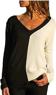maweisong 女性カジュアルVネックロングスリーブコントラストカラーTシャツ