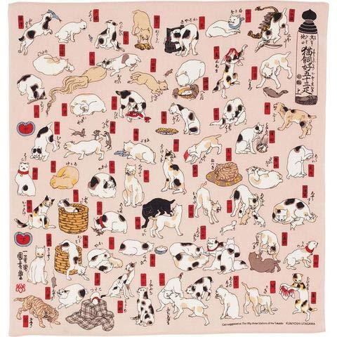 Japón no Yokan Furoshiki «Gatos imitando Las 53 Estaciones del Tokaido» (68 cm)