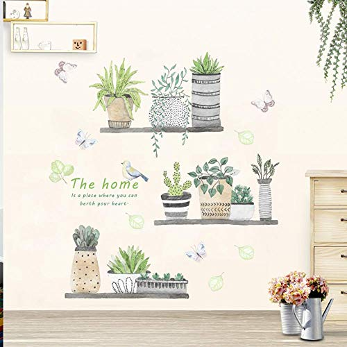 Finduat Green Potted Plant Wall Decal Bonsai Flower Butterfly Cactus Wall Stickers DIY Mural Art Decoration for Living Room Bedroom Kitchen Nursery Home Décor