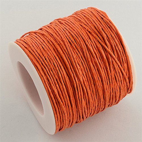 84m/Roll Waxed Thread Cotton Cord String Strap Fit Bracelet Necklaces Jewelry Findings for DIY - 1mm (Dark Orange)