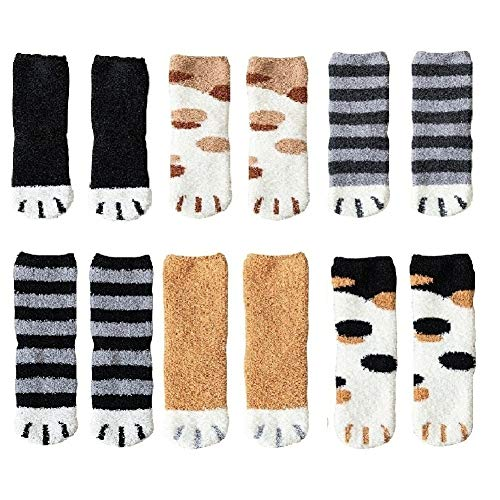 6pairs Winter Cat Claws Cute Thick Warm Sleep Floor Socks,Cat Paw Slipper Socks for Girls,Women (#5)