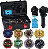 Beyblade Tripie 8 Pieces Speed ​​Gyro Metal Combat Toupie Set 4D Fusion Model Combination with Transmitter and Handle-D Improve
