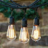 JoyinÃ'Â 48 Ft Waterproof String Lights Set with Hanging Loops with 15 E27 Dropped Sockets- 15 ST64 Dimmable Edison Bulbs Included, End-to-end Connect(Black Wire) by JoyinÃ'Â