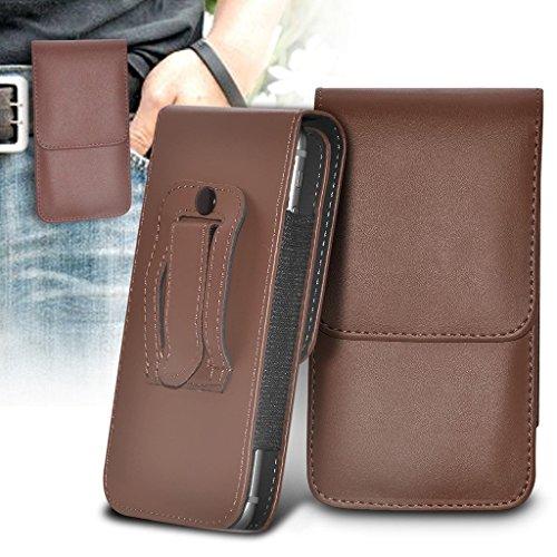 ONX3 Braun vertikale Tasche Kunstleder gürtel Handy Tasche case Abdeckung mit magnetverschluss kompatibel mit Wiko Fever Special Edition