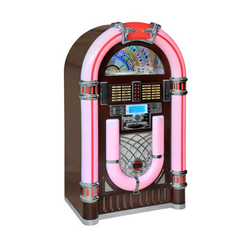 #04 JUKEBOX - Majestic JB 3710N TT CD USB SD - Juke box con giradischi 33/45/78 giri, lettore CD/Mp3, Radio PLL, Ingressi USB/SD recorder, illuminazione multicolor, Legno