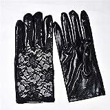 Guuisad Helisopus Fashion Femenino Guantes de cuero para mujer Cuerda corta Guantes de costura de encaje, guantes de juego, Guantes de salto de barcos Negro de finger negro Guantes de encaje negro Lad