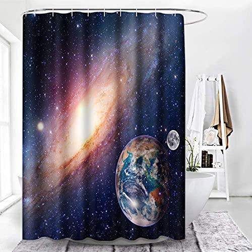 ArtSocket Galaxy Duschvorhang, Sternenhimmel-Weltraum, schwarze Duschvorhänge für Badezimmer-Dekor-Sets, Universum Planeten Duschvorhang mit 12 Haken, wasserdichtes Polyestergewebe, 182,9 x 183,9 cm