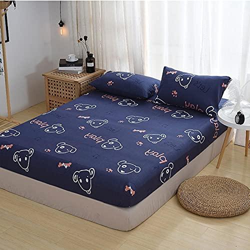 HPPSLT Protector de colchón - óptimo antiácarosFunda Protectora de una Pieza para sábana antideslizante-12_160x200cm