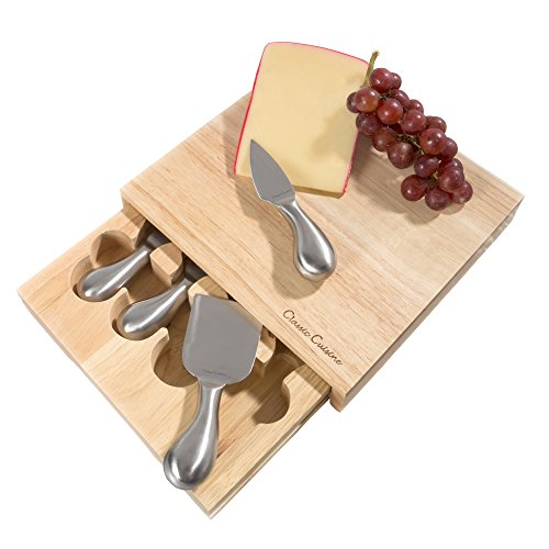 Cheese Board 5 piece Set with Stainless Steel Tools and Wood Cutting Block for Every day Entertaining Picnics Gifts 86 x 825 by Classic Cuisine