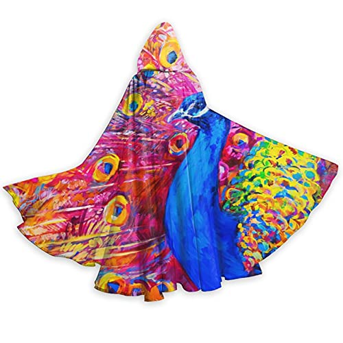 Red Blue Oil Painting Colorful Peacock Art Hooded Cape Cloak for Halloween Wizard Witch Christmas Hoodies