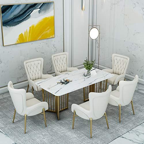 Table 7-teilige Restaurantkombination, Esstisch aus Marmor und 6 weiße Ledersessel