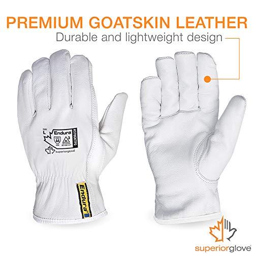 Superior Goatskin Leather Work Gloves – Kevlar Lined Cut Resistant, Arc Flash Safety Work Gloves (Endura-378GKTFG) X-Small