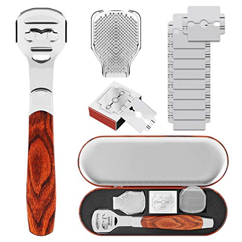 Juego de Afeitadora de Callos para Pedicura y Callos con Funda, Cabezales de Lima y 10 Cuchillas de Repuesto para Pies de Mano