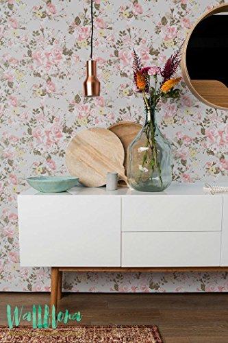 Jardin Rose et Daisy fleur papier peint - Papier Peint Autocollant Amovible Sticker Mural Papier peint - Daisy - Rose de jardin et Daisy, 53 Cm wide by 243 Cm Tall