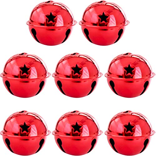 llxieym 8 Pieces Jingle Bells Christmas Star Bells 2.56 Inches Craft Bells Ornament for Christmas DIY Decoration (red)