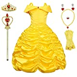 Princess Costume Birthday Party Costume Off Shoulder Dress up for Girls 4T 5T(120CM,E39)
