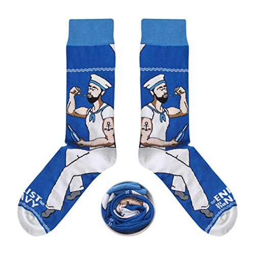 CUP OF SOX - Blond/Mädchen/Matrose/Königin/Nose Art - Socken in der Tasse - Herren und Damen Geschenksocken Freizeit Socken (37-40, Blau)