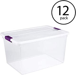 STERILITE 66-Quart Clearview Latch Box, 12-Pack