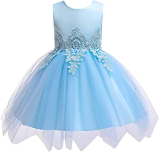 LvRao Girls' Princess Dress Tulle Skirt Bow Tie Beaded Backless Party Dresses with Rhinestones