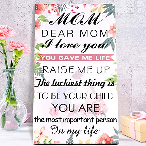 OEAGO Funny Gifts for Mom-Hangable Canvas Poem for Mom-Mothers Day Gifts Birthday Thanks giving Day Christmas Gifts from Son or Daughter-Floral Style White