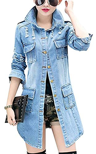 BOLAWOO Jeansmantel Elegant Damen Herbst Langarm Revers Zerrissen Mode Marken Slim Fit Vordertaschen Einreihig Lang Mäntel Casual Trendigen Mantel (Color : Blau, Size : M)