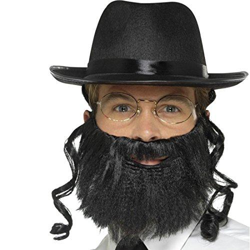 NET TOYS Rabbi Kostüm Set mit Hut, Haar, Bart u. Brille jüdische Schläfenlocken Rabbiner Verkleidung Jude