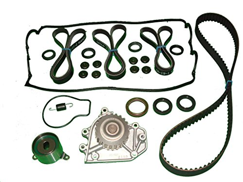TBK Timing Belt Kit Replacement For Honda Civic 1.6L Si 1999 to 2000 Includes Water Pump Timing Belt Timing Tensioner and Spring three Drive Belts Valve cover set Camshaft Seals and timing cover seal