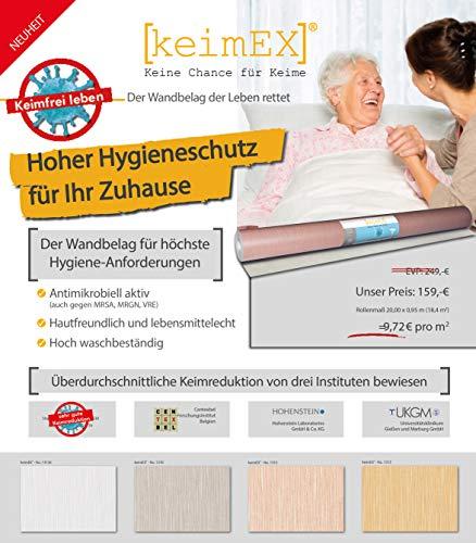 Virenschutz Tapete Weiß-Grau Uni - keimEX - Hilfe gegen Virus wie Corona - hochwertige deutsche Qualität - Ideal für zu Hause oder Praxis - 20m x 0,92m