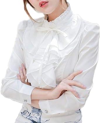 Mujer Primavera Camisa, Moda Manga Larga Cuello Mao Blusa con ...