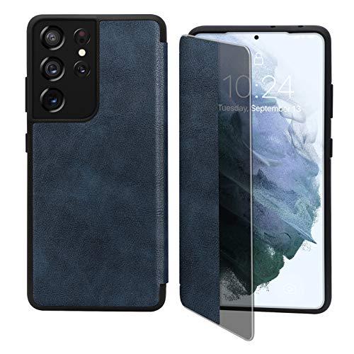 Capa flip FYY para Galaxy S21 Ultra 6,8 polegadas, capa magnética fina flip para celular com proteção contra quedas e à prova de choque com função de visualização de janela para Samsung Galaxy S21 Ultra 6,8 polegadas, Azul