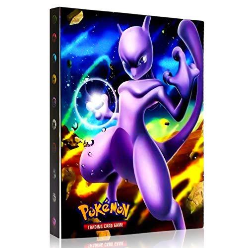 OMZGXGOD Pokémon Carte Album,Albums Pokemon GX EX Trainer, Albums de Cartes à Collectionner, 30 Pages Peut contenir jusqu'à 240 Cartes, (Mewtwo)