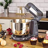 Quest Compact Stand Mixer | 3 Litre | 6 Speed | Stainless Steel Bowl | Dough Hook and Beater | 250W (Grey)