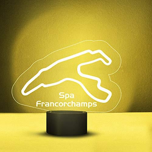 Lámpara LED 3D de Spa Francorchamps de 6 colores cambiantes para decoración, de acrílico, con interruptor plano, luz nocturna, regalo para los amantes de las carreras