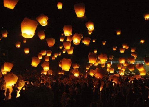 Sky Lantern Lot de 30 lanternes chinoises volantes Blanc