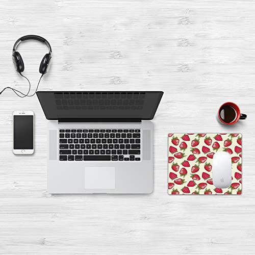 Mauspad Größe (32 x 25 cm),Obst, Erdbeeren Lebendiges Wachstum Pflanze Vitamin Bio-Diät Erfri,Mousepad Design Extra stark vernähter Rand und gummierte Unterseite geeignet für Office und Gaming mauspad