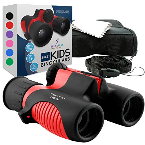 Binoculars for Kids High Resolution 8x21 - Red Compact High Power Kids Binoculars for Bird Watching, Hiking, Hunting, Outdoor Games, Spy and Camping Gear, Learning, Outside Play, Boys, Girls
