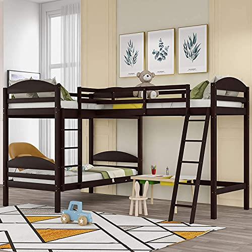 MWKL Newest L-Shaped Twin Size Bunk Bed and Loft Bed, Solid Wood Twin Bunk Bed Loft Bed with Guardrail, Two Ladders for 3 Person, No Spring Box Needed