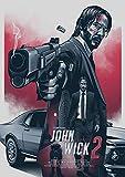 PSpXU Cartel de John Wick/póster de película/póster Vintage/Pintura Decorativa/Home Cafe Bar Papel Kraft Poste/r Kraft Poster/Etiqueta de la Pared-Sin marco-60X90cm