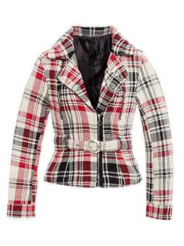 SS7 Damen kariert Bikerjacke Damen Mantel Größe 8 10 12 14 rot cremefarben NEU - rot/Creme, 40