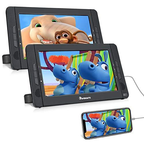NAVISKAUTO Lettore dvd portatile auto poggiatesta doppio schermo da 10.1 pollici per bambini, autonomia da 5 ore, supporta HDMI/USB/SD/MMC/regione free,18 mesi di garanzia