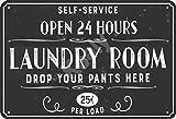 none_branded Laundry Room Drop Your Pants Here Cartel de Chapa Metal Advertencia Placa de Chapa de Hierro Retro Cartel Vintage para Dormitorio Pared Familiar Aluminio Arte Decoración