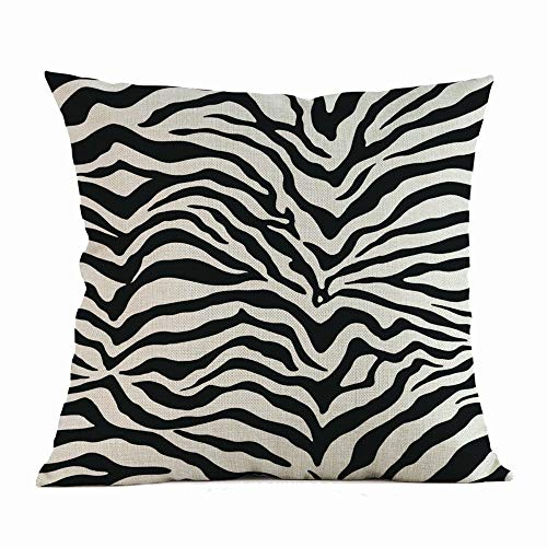 wuayi Pillowcases, Cushion Covers 45 × 45 cm Square Zebra Print Cozy Soft Linen Decorative Throw Pillow Cases for Home Office Sofa Decor