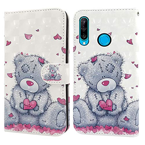 Ailisi Huawei P30 Lite Hülle Teddy Bear 3D Muster Handyhülle Schutzhülle PU Leder Wallet Case Flip Case Klapphüllen Brieftasche Ledertasche Tasche Etui im Bookstyle