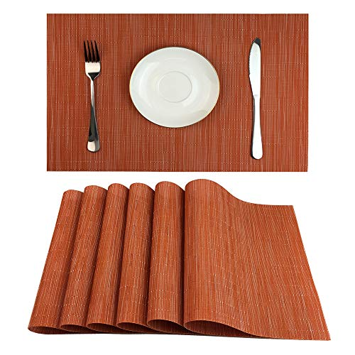 Red-A Placemats Set of 6 for Dining Table Heat-Resistant Washable Place Mats Woven Vinyl Kitchen Table Mats Easy to Clean,Orange