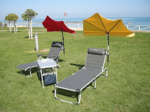 Plage – goulia Nova – Set Holly Relax – Compartiments parapluie citronen Jaune + Accoudoirs Chaise longue avec coussin de nuque – 5,5 Kg léger réglable – Stabielo – Aluminium – Chaise longue 190 x 62 x 29 cm – Accoudoirs réglables Couleur : titanium – Distribution – Holly Mobile Mobile de protection de soleil Sunshade Holly®