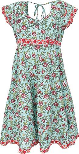 GURU SHOP Minikleid, Luftiges Sommerkleid, Damen, Türkis, Baumwolle, Size:M (40), Kurze Kleider Alternative Bekleidung