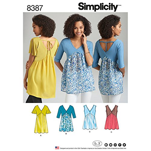 Simplicity Sewing Pattern 8387 Misses' Knit and Woven Tops With Length and Bodice Variations Misses' Sz Group A (4-26) (All Sizes Inclued in Pattern XXS-XS-S-M-L-XL-XXL)