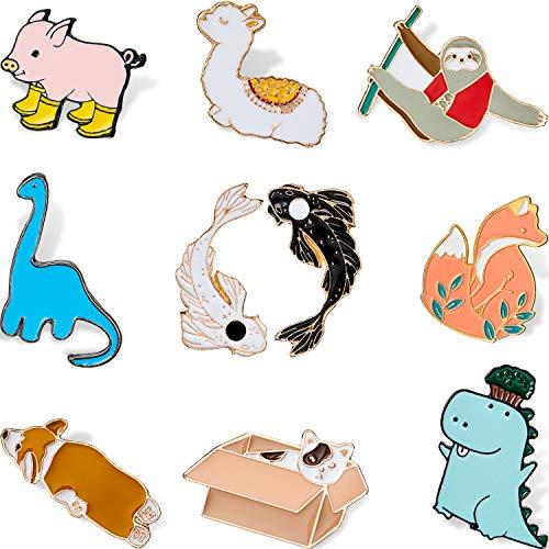 HICARER 10 Stücke Cartoon Tier Emaille Pins Set Cartoon Tier Rucksack Brosche Katze Alpaka Corgi Abzeichen für Kleidung Kragensack Jacke Zubehör DIY Handwerk (Klassischer Stil)